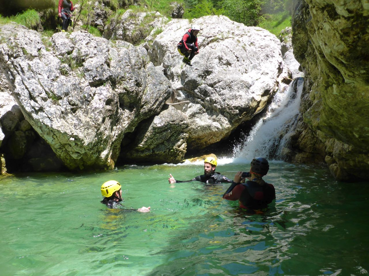 Canyoning Italien Sprung